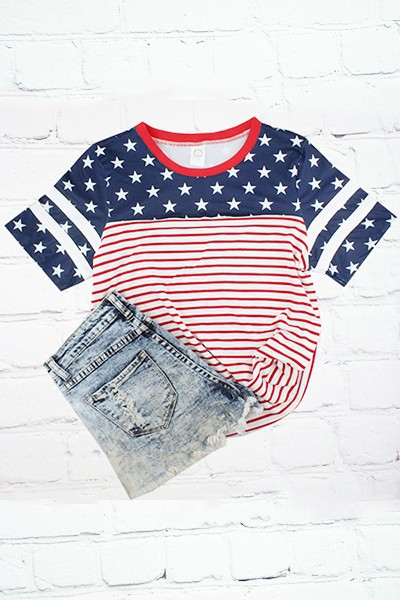 Stars and Stripes Half Sleeve Top - orangeshine.com
