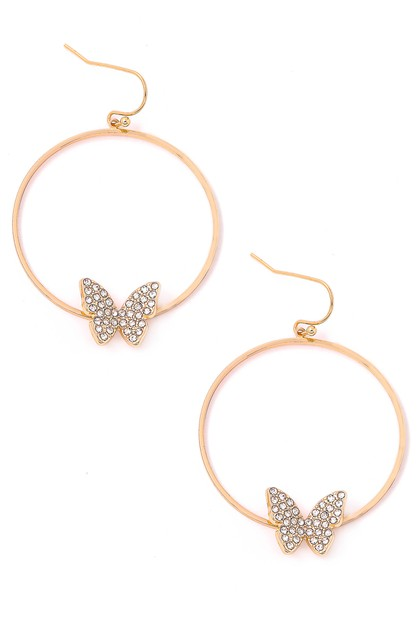 Studded Butterfly Hoop Earrings - orangeshine.com