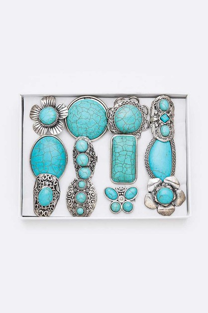 Turquoise Iconic Ring Set - orangeshine.com
