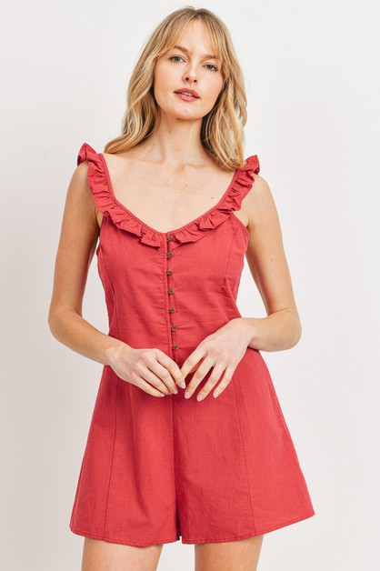 Buttoned Ruffled Strap Rompers - orangeshine.com