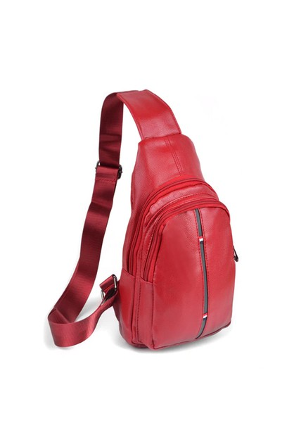 Red Crossbody Leather Sling Bag - orangeshine.com