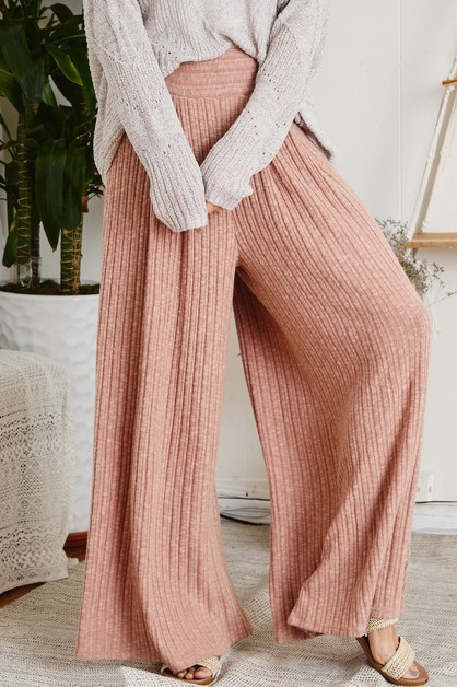 Wide leg solid pants - orangeshine.com