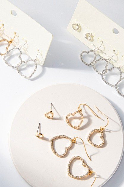 3Pairs-Paved Heart Shape Post Earrings - orangeshine.com