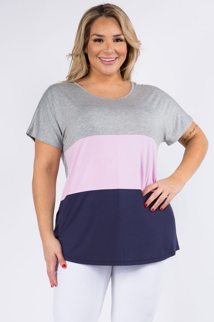 Short Sleeve Colorblock Top - orangeshine.com