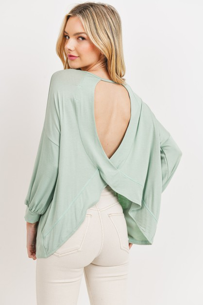 Open Back Balloon Sleeves Top - orangeshine.com