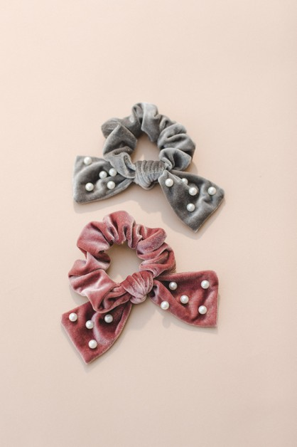 Velvet Bow Scrunchie with Pearl Acce - orangeshine.com