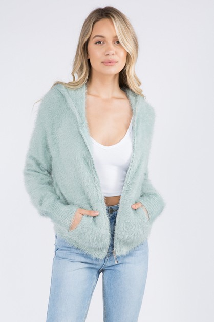Extreme Fuzzy And Soft Zip Up Jacket - orangeshine.com