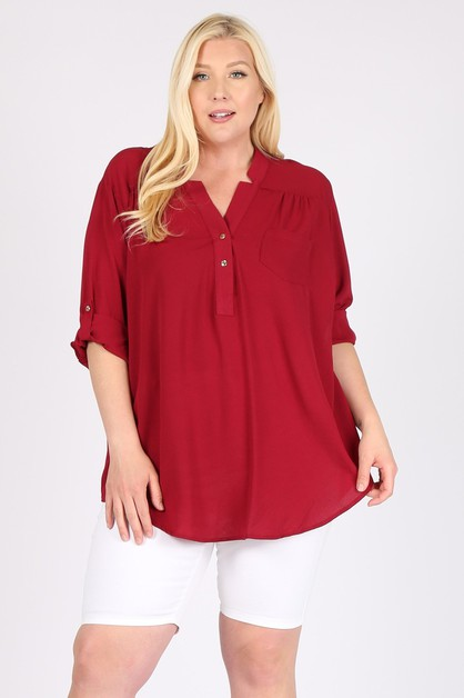 PLUS SIZE KOSHIBO ROLL UP SLEEVE TOP - orangeshine.com