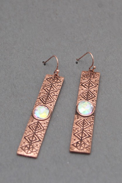 METAL BAR WITH STONE DANGLE EARRINGS - orangeshine.com