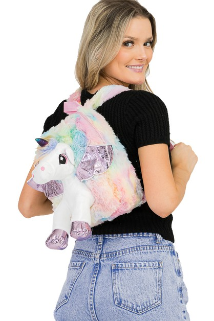 Unicorn Plush Accented Backpack - orangeshine.com
