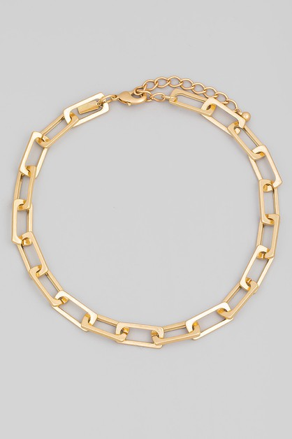 Rectangle Chain Link Necklace - orangeshine.com