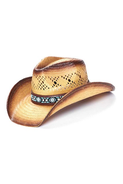 STRAW WESTERN WITH COLOR BEADS HAT - orangeshine.com