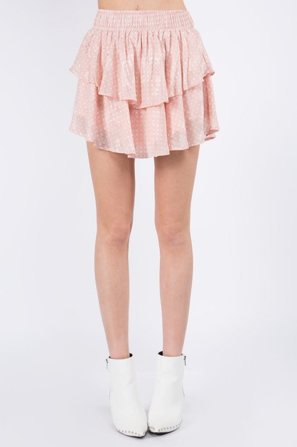 Double Layer Jacquard Textured Skirt - orangeshine.com