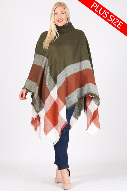Plus Size Pull over Poncho - orangeshine.com