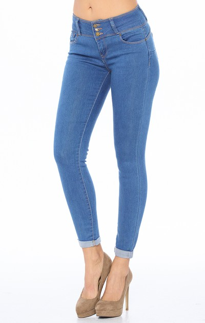 3 Button Skinny Jeans Butt Lifting - orangeshine.com