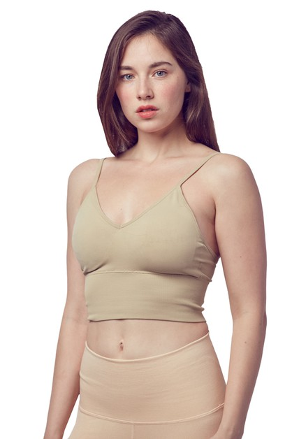 Seamless Padded Crop Top Bra - orangeshine.com