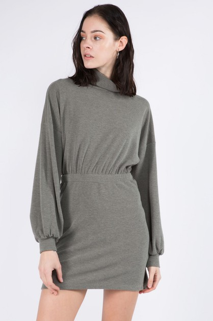 Mock High Neck Knit Dress With Slit - orangeshine.com