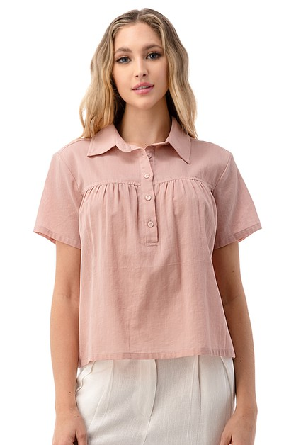 Pleat Detail Half Button Shirt - orangeshine.com