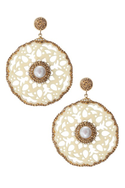Hollow Circle Pearl Earrings E3993 - orangeshine.com