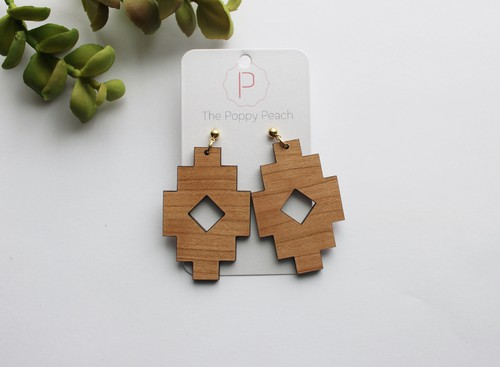 Aztec Cherry and Brass Stud Earrings - orangeshine.com