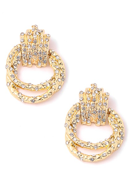 Rhinestone Pave Ring Link Earrings - orangeshine.com