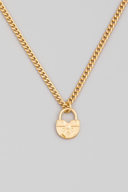 Round Padlock Pendant Necklace - orangeshine.com