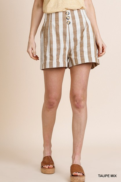 Linen Blend Striped Short - orangeshine.com