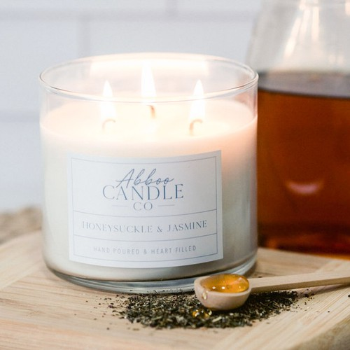 Honeysuckle Jasmine 3Wick Soy Candle - orangeshine.com