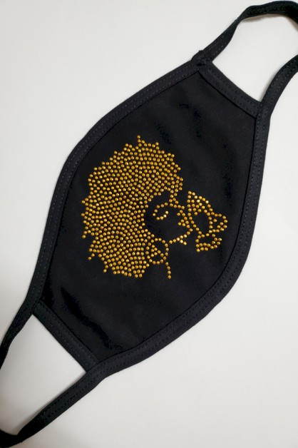Gold Praying Afro Girl Mask - orangeshine.com