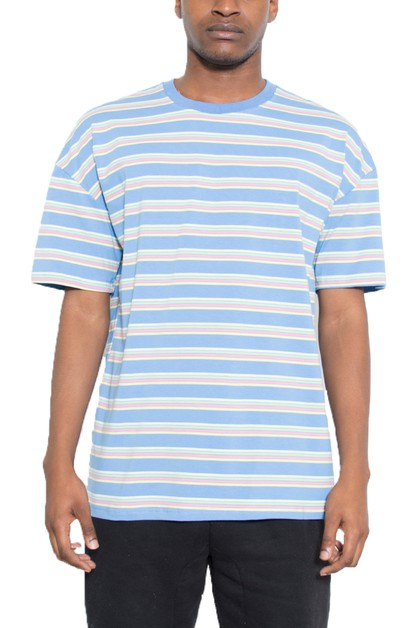 BASIC STRIPED ROUND NECK TSHIRT - orangeshine.com
