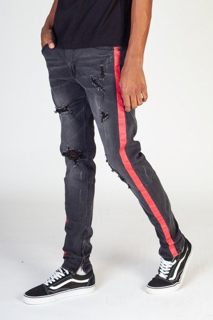 CONTRAST SIDE STRIPED JEANS - orangeshine.com