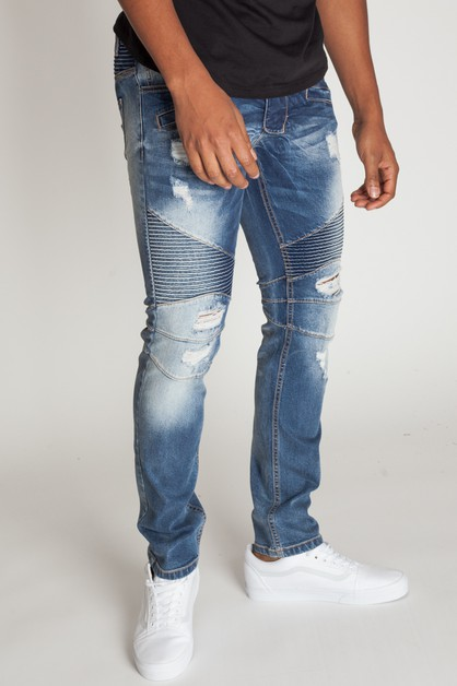 DESTROYED MOTO JEANS - orangeshine.com