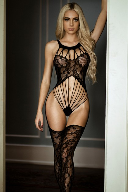 Bare it All Lace Caged Fishnet Bodys - orangeshine.com
