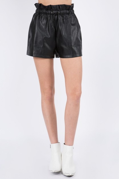 Pocket Detail Leather Shorts - orangeshine.com