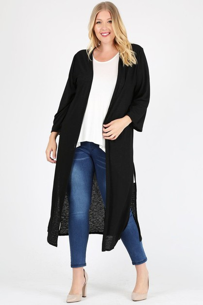 Plus size open front long Cardigan - orangeshine.com