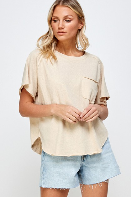 SOFT WASHED SHORT SLEEVS TOP - orangeshine.com