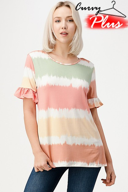 TIE DYE RUFFLE TOP WITH  CRISS CROSS - orangeshine.com