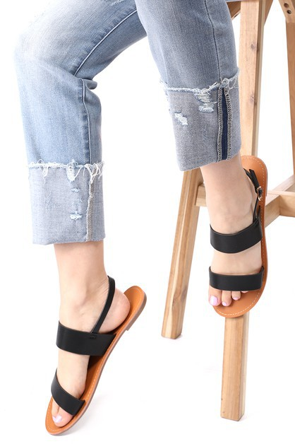 Wide Twin Band Buckled Ankle Sandals - orangeshine.com