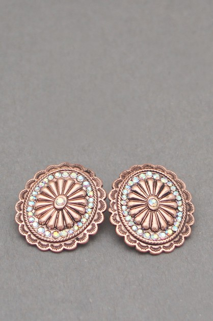 METAL WITH STONE POST EARRINGS - orangeshine.com
