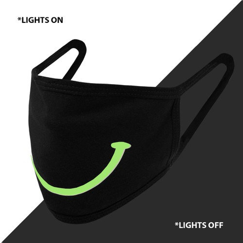 GLOW IN DARK SMILE UNISEX FACE MASK - orangeshine.com