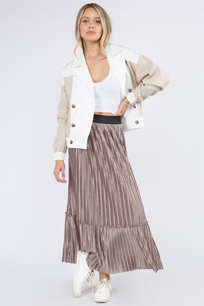 Pleat Textured Fabric Skirt - orangeshine.com