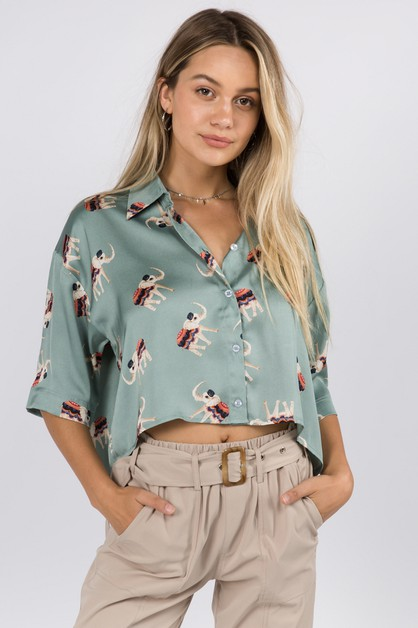 Elephant Printed Crop Satin Shirt - orangeshine.com