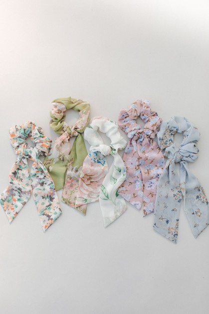 Chiffon Short Pony Floral Hair Tie - orangeshine.com