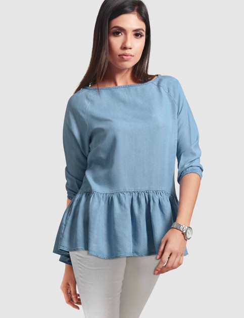 Womens Ruffle-hem Denim Top - orangeshine.com