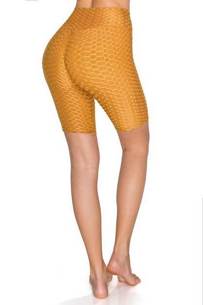 SCRUNCH TEXTURED YOGA BIKER SHORTS - orangeshine.com