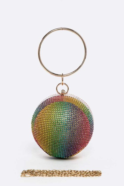 Mix Color Rhinestone Ball Clutch - orangeshine.com