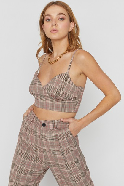PLAID BUSTIER - orangeshine.com