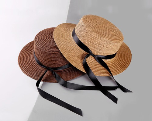 Knotted ribbon straw hats - orangeshine.com