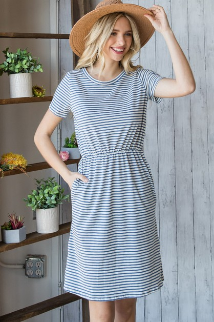 Striped Short Sleeve Mini Dress - orangeshine.com