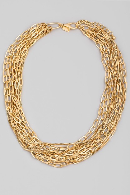 Mutli Strand Chain Necklace - orangeshine.com